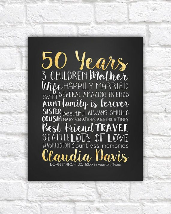50 Years, 50th Gift, Golden Year, 50 Years Old, Turning 50