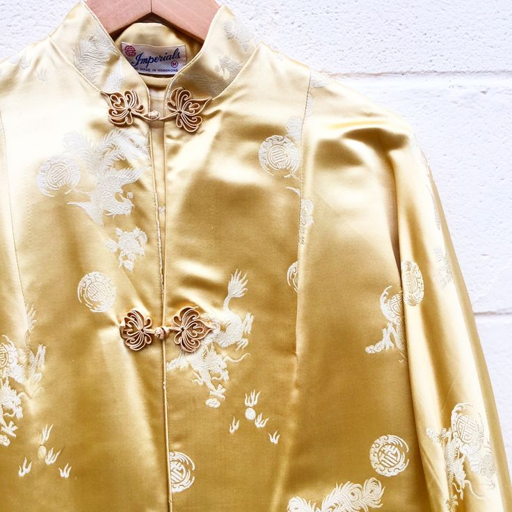 We are loving this Gold Silk Asian Duster Jacket