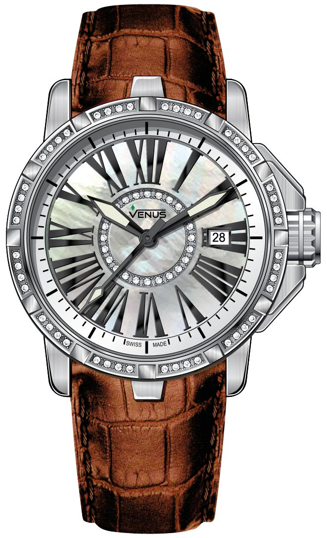 Time-date Quartz with 72 diamonds, White mother of pearl circle and Anti-allergic, light brown and genuine calf leather strap, Genesis collection, VENUS