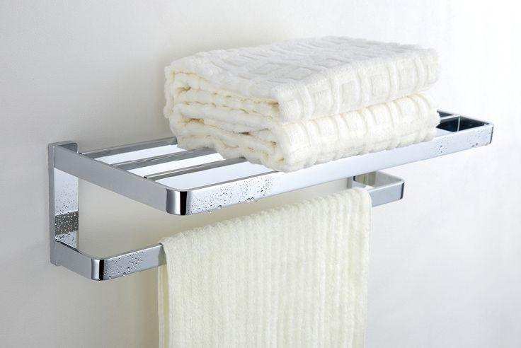 Modern Chrome Finish Solid Brass Towel Rack.