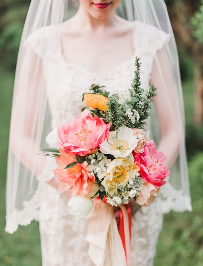 Traditional Bride with gorgeous coral peony bouquet - Wedding Inspiration