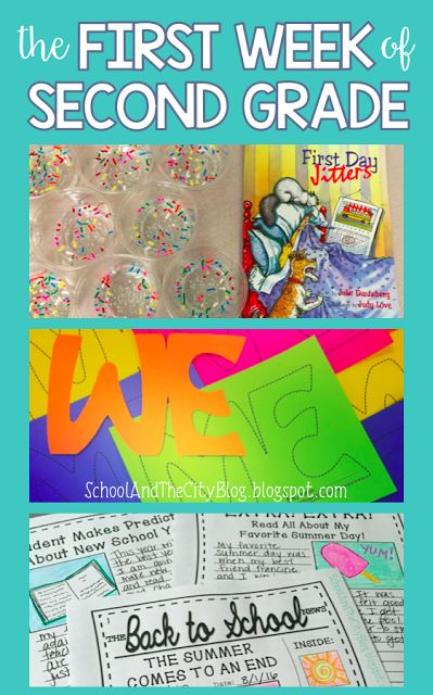 "Great ideas for the first day or first week back to school, including ""Jitter Juice"" and writing activities! {School and the City: The First Week of Second Grade}"