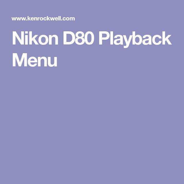 Nikon D80 Playback Menu