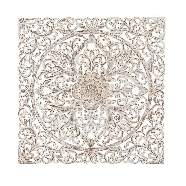 Traditional Carved Floral Medallion Wall Decor With Images