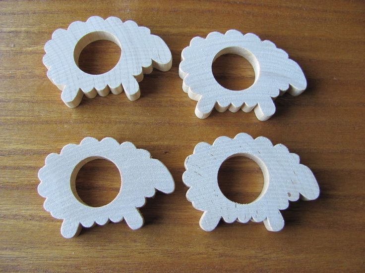Aarikka Finland Vintage Wooden Sheep Napkin Rings set of four #Aarikka