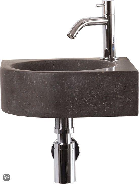 Differnz Cleo Fontein Toilet - Set - Hoekfontein 30 x 30 cm inclusief fonteinkraan en sifon - Natuursteen - Zwart