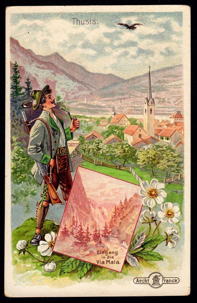 "Thusis Switzerland ~ Aecht Franck Coffee ""Alpine Scenes"" (German issue c1910) | via Flickr"
