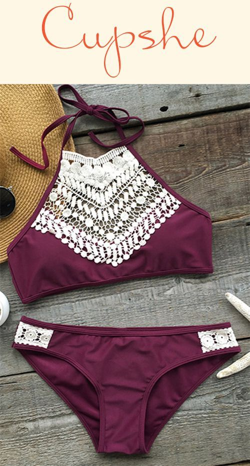 Breathtaking One-Only $24.99! Our blooming above lace halter bikini set is absolutely perfect for its design&fit! Doubt it? Try one Now with more holiday discounts at Cupshe.com