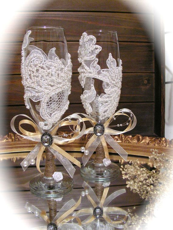 Champagne Glasses  Rustic Wedding Toasting Flutes by Mydaisy2000, $55.00