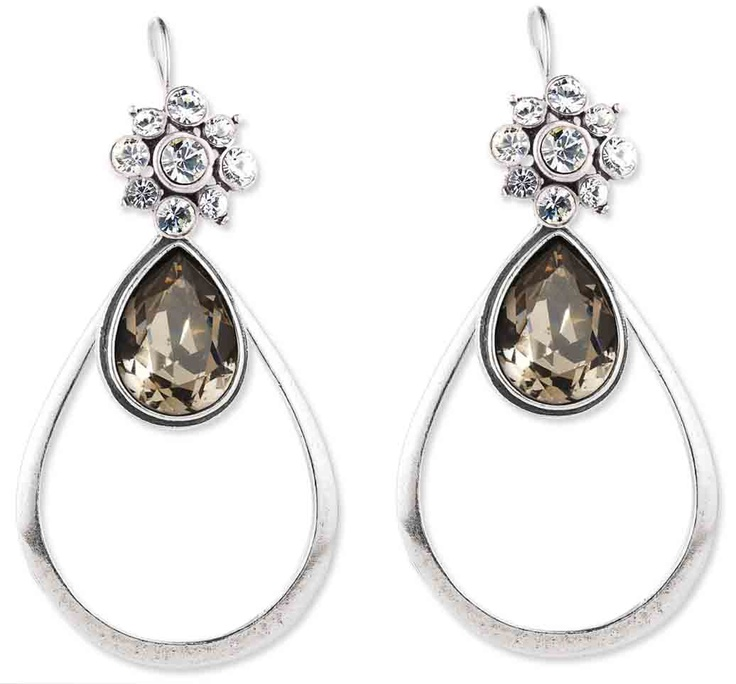 Flower Swarovski Crystal french wires (E2212) worn with our Black Diamond Swarovski Crystal teardrop earring charms (E2268) and our basic burnished silver teardrop earrings (E2255) - both earring charms come with standard french wires so they can be worn alone.