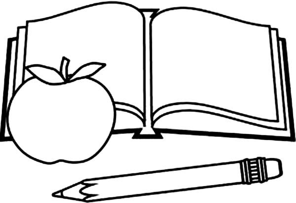 Books Picture Of Book Pencil And Apple Coloring Page Apple Coloring Pages Printable Coloring Book Apple Coloring