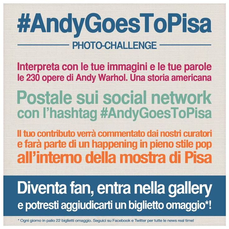 #AndyGoesToPisa Photo Challenge è una performance creativa sui social network, un happening dal vivo a Pisa. Ecco le istruzioni per l'uso... #andywarhol #popart #pisa