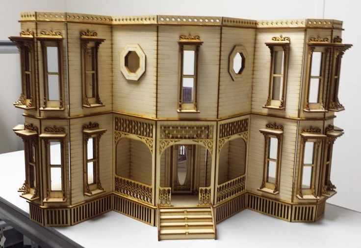 51 best laser dollhouse designs images on pinterest for Victorian style kit homes