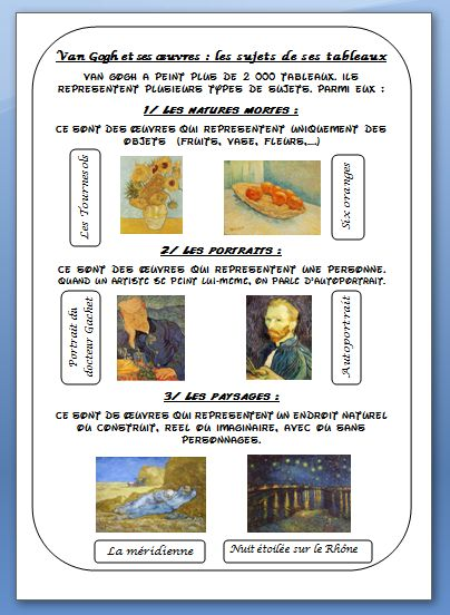 4 cartes sur Van Gogh: une sur l'artiste, une sur une de ces oeuvres et nouveauté 2 cartes d'analyses d'oeuvres.  Van gogh a peint plus de 2000 toiles et s'est essayé à plusieurs styles.La carte sur Van Gogh comprend une vidéo-diaporama  avec pour fond musical les Tournesols de Jean Ferrat, un animorphing qui reprend en une minute plusieurs autoportraits de Van Gogh et une vidéo qui explique des détails de la vie de Van Gogh et Gauguin à Arles.  Les 3 supports sont disponibles en bas…
