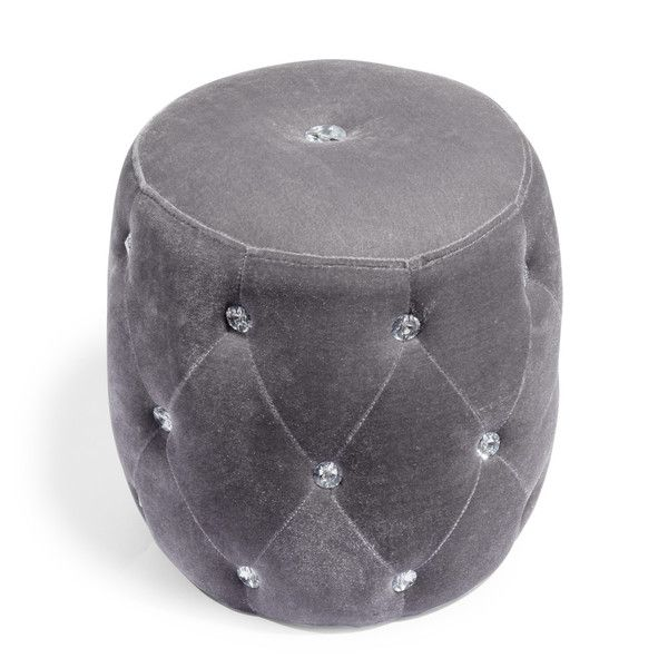 pouf en tissu gris strass d coration maison pinterest poufs gris et strass. Black Bedroom Furniture Sets. Home Design Ideas