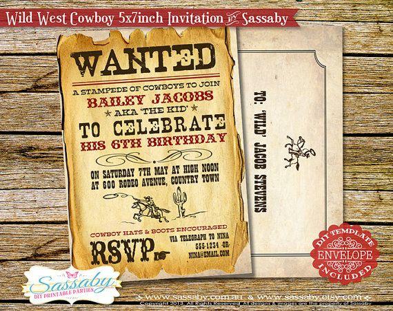 Wild West Cowboy Boys Party Invitation  DIY PRINTABLE by Sassaby, $15.95