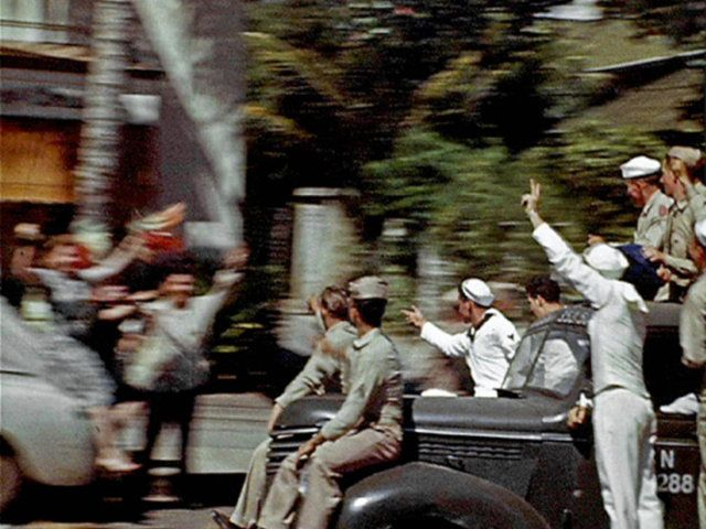 "VJ Day, Honolulu Hawaii, August 14, 1945 by Richard Sullivan. ""65 Years Ago my Dad shot this film along Kalakaua Ave. in Waikiki capturing spontaneous celebrations that broke out upon first hearing news of the Japanese surrender."""