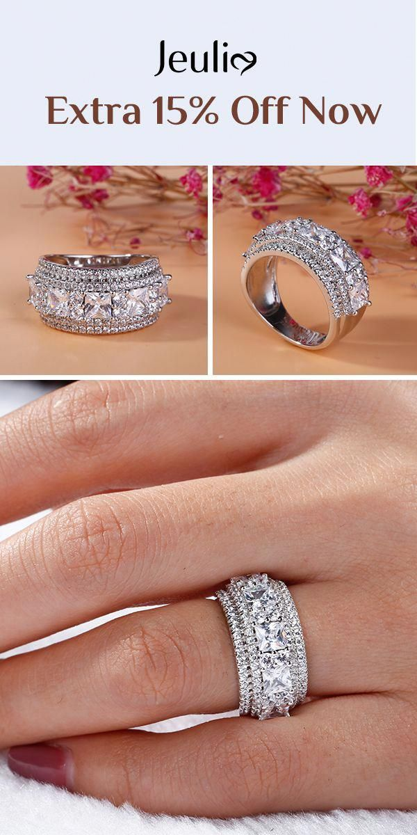 Rose Gold Wedding Band Women Diamond Ring Unique Heart Shaped
