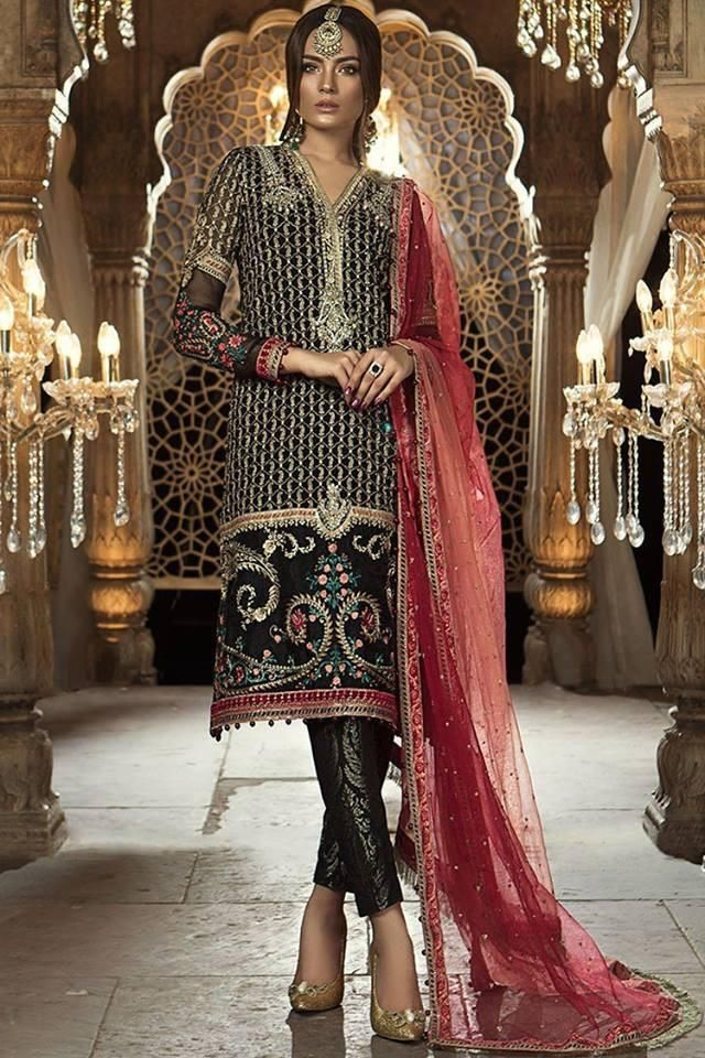 04b4314d7d Pakistani designer dress Chiffon by Maria B in black and red color Model#C  1630