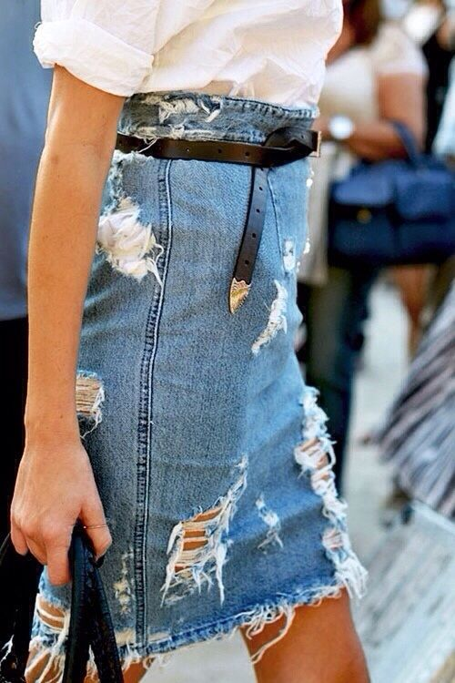 denim skirt & tucked belt