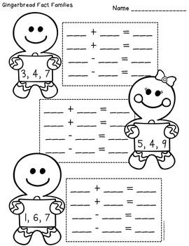Gingerbread fact family math activities--free!