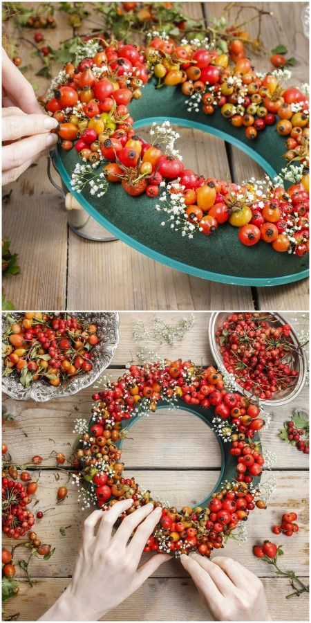 Make a fall berry wreath with a florist foam wreath form, berries, and rosehips. Many more wreath ideas in this post.