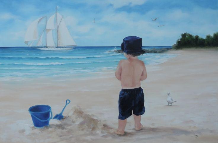 Sajó (©2013 sajosee.com) Enfant sur la plage.  *Encadrement inclus avec le prix de l'œuvre originale. Livrée par l'artiste.
