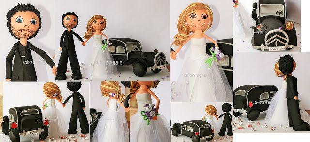 https://www.facebook.com/Clikayregala-Fofuchas-y-Detalles-1663928650486695/?ref=hl Y aqui llegan los novios montados en su coche de época. Edu con su traje, impaciente por ver a la novia. Jenny, con un impresionante vestido y un divertido peinado. Muchisimas felicidades a una gran pareja!!!!