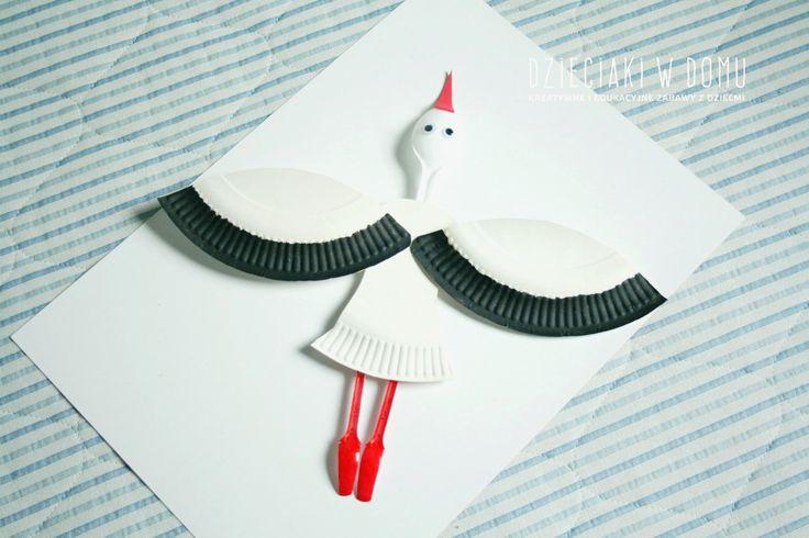 bocian z papierowych talerzyków