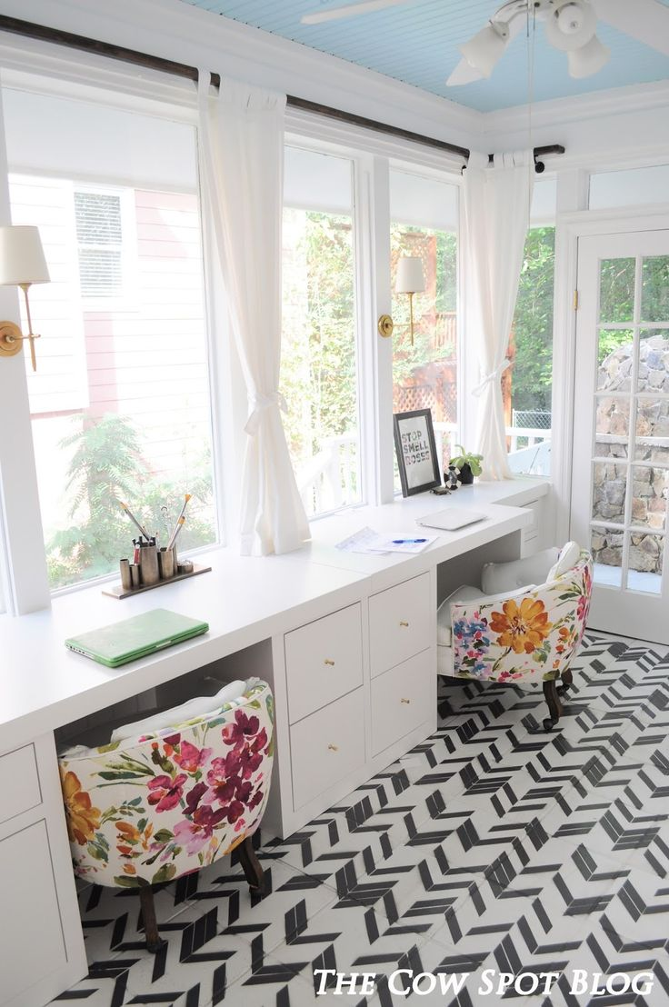 The Cow Spot: Sunroom Turned Home Office Reveal | Floral chairs, blue ceiling, patterned tiles