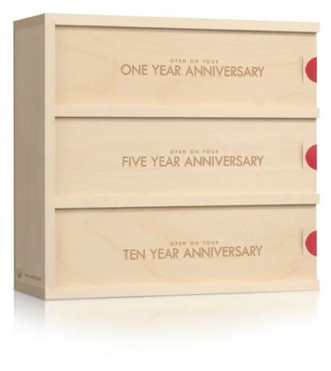 Classic Trio  Our classic trio wine box is the perfect balance of form and function. It's simple, modern design fits effortlessly into any décor and will keep your messages timeless for anniversaries to come.  $55