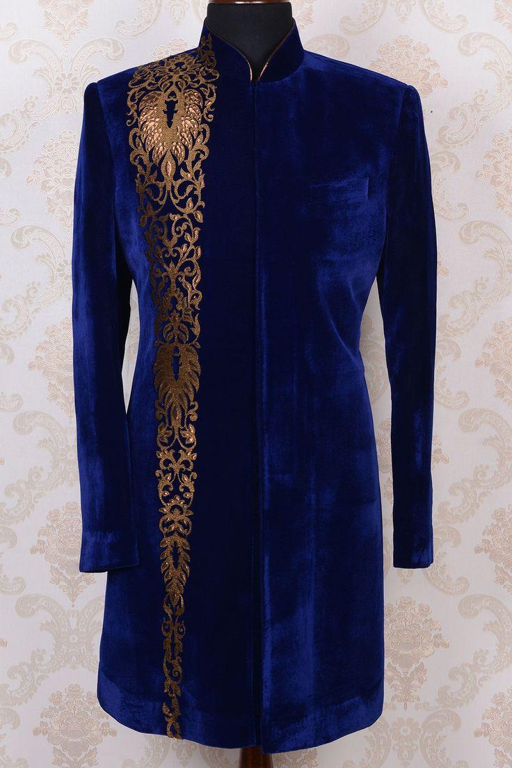 Indo Western Sherwani-Dark Blue-Applique Work-IW363