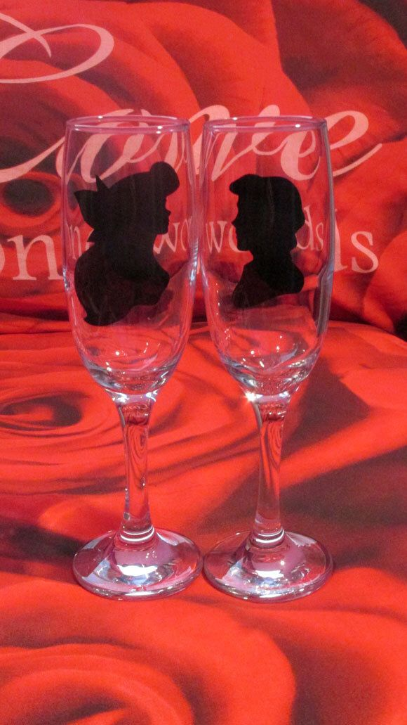 New - Disney Little Mermaid Silhouette Designed Champagne Glass, Wine Glass, Tumbler, Hi Ball, Pint Glass Wedding Favour, Gift, Personalised by ATouchOnGlass on Etsy https://www.etsy.com/listing/221166006/new-disney-little-mermaid-silhouette