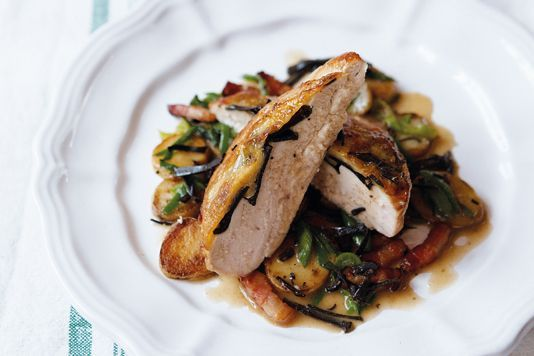 Pan-roasted guinea fowl with truffles and leek Chef Daniel Galmiche