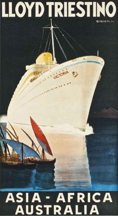 By Giuseppe Riccobaldi (1887-1976), ca 1930, Lloyd Triestino, Asia-Africa-Australia.