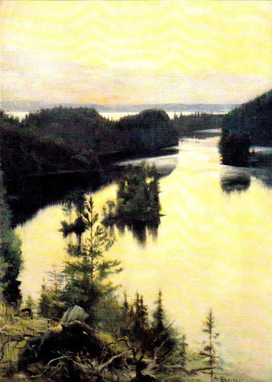Kuva albumissa ALBERT EDELFELT - Google Kuvat. Kaukolanharju auringonlaskun aikaan 1889-90,  Ateneum, tk.