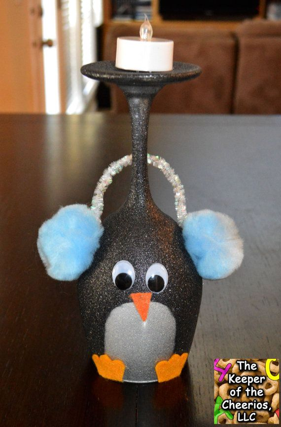 Penguin Wine Glass Candle Holder by TheKeeperofCheerios on Etsy