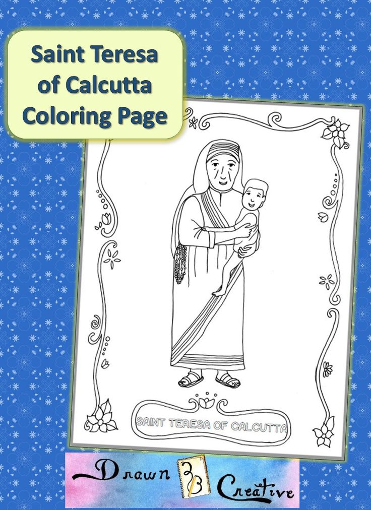 free saint teresa of calcutta coloring page