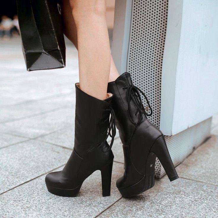 Women Fashion Suede Mid-Calf Boots Round Toe Platform Stiletto High Heeled Half Boots