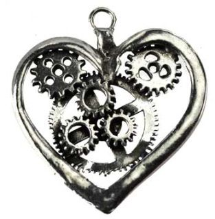 """A pewter Steampunk heart pendant. No Cord. 1 1/2"""" x 2"""""""