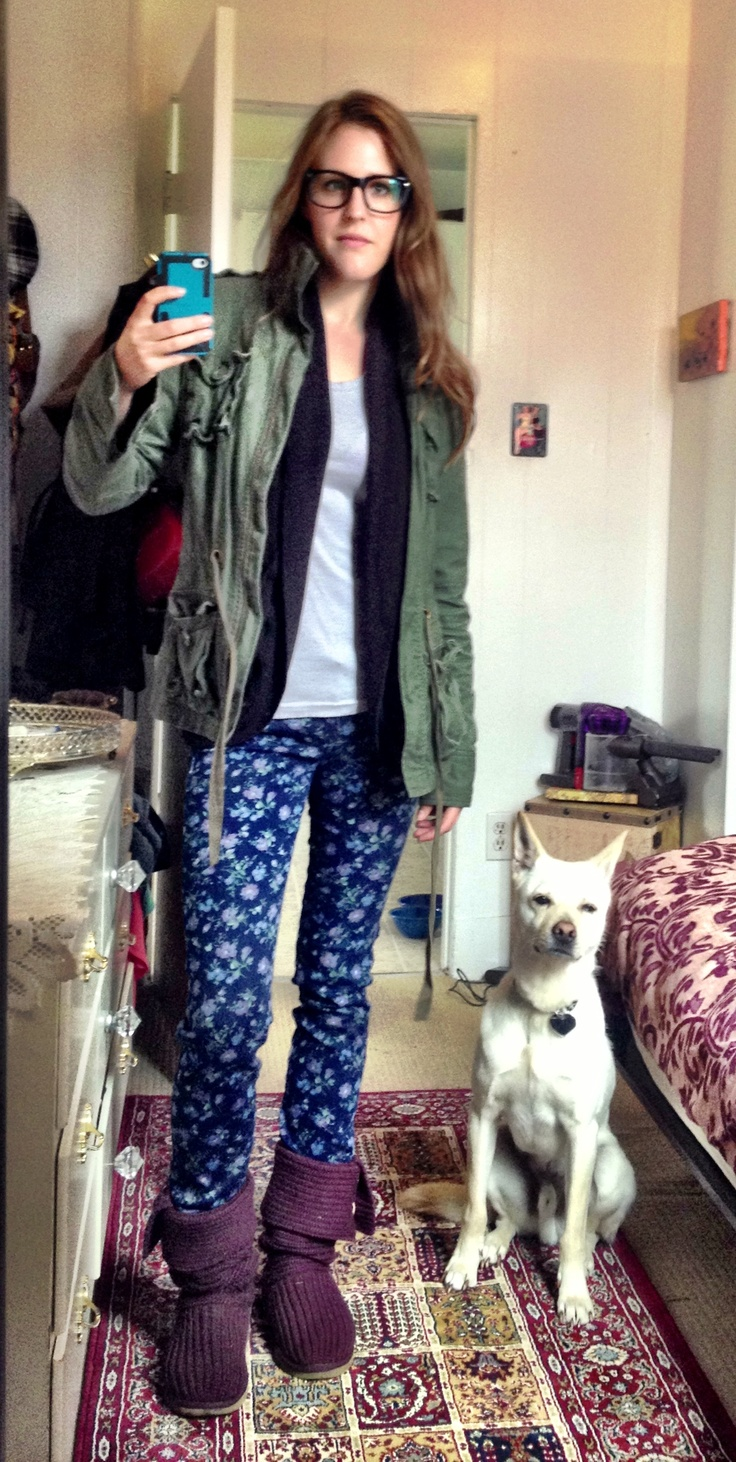 Starving Artist Dog Walker on the cheap! Derek Cardigan Glasses: $30 (Clearly Contacts), Grey Tshirt: $2 (thrifted), Gentle Fawn sweater: free (scored at a free market), Roots army jacket: free (a friend didn't want it), Material Girl pants (free, thanks mom!), Ugg boots: $60 (Winners score!) TOTAL COST: $92