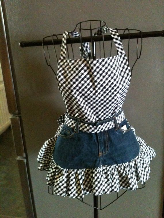 Black and White print bib and skirt ruffle on blue jeans.