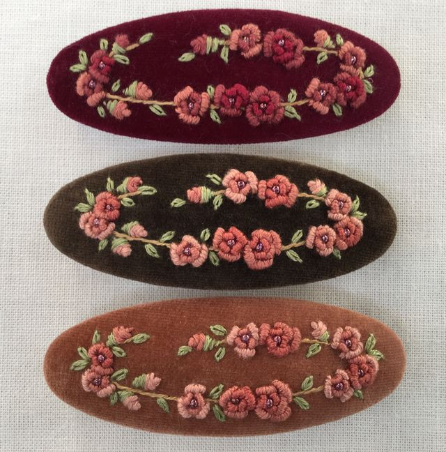 刺繍バレッタL ファーストリースローズ(キャメル)