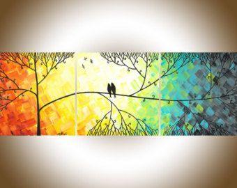 Rosa grau moderne Wand Kunst Acryl Malerei Vögel von QiQiGallery