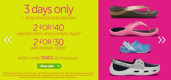 Crocs Sale 2/$30 & 2/$40 + Free Shipping!