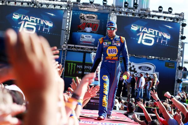 Chase Elliott, driver of the #24 NAPA Chevrolet, greets fans during driver introductions for the Monster Energy NASCAR Cup Series Championship Ford EcoBoost 400 at Homestead-Miami Speedway on November 19, 2017 in Homestead, Florida.