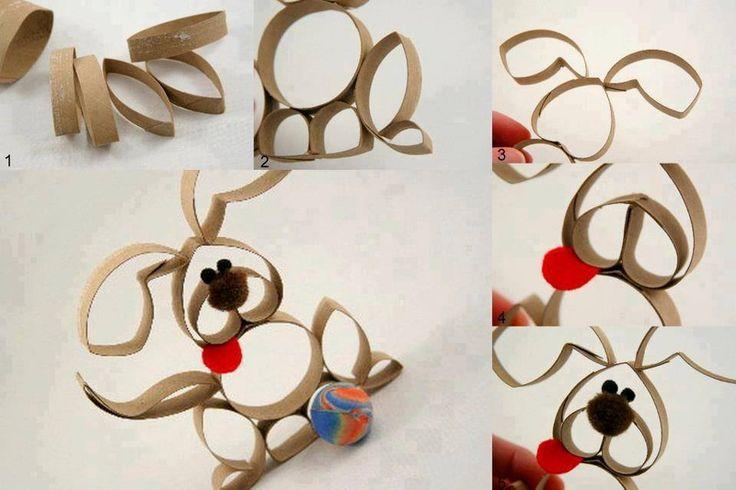 Una idea sencilla, donde puedes reciclar los rollos del papel higiénico, dándole la forma de un conejo.