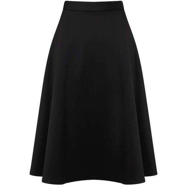 Black Scuba Midi Skirt - View All - Sale & Offers - Miss Selfridge US ❤ liked on Polyvore featuring skirts, miss selfridge skirts, mid calf skirts, calf length skirts, miss selfridge and midi skirt