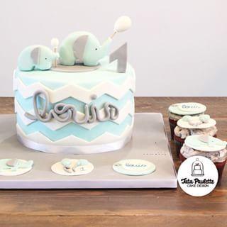 Instagram photo by tatapaulettecakedesign - Éléphant cake ! #blue #cakedesign #chevron #patisserie #redvelvet #cupcake #happy