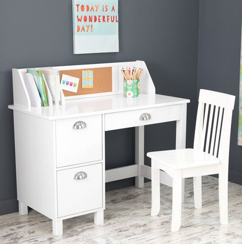 KidKraft White Study Desk with Chair